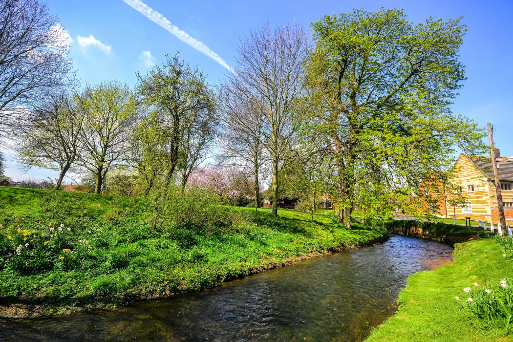 England Spring Rivers Trees Bottesford Leicestershire wallpaper
