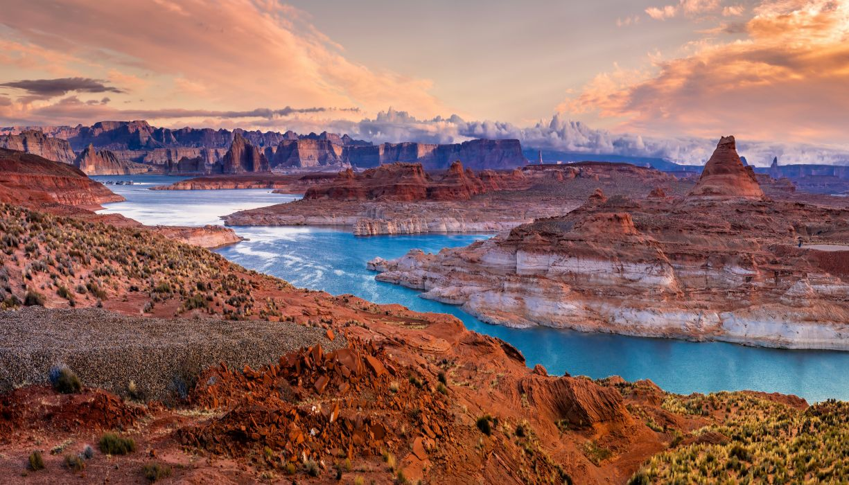 Scenery Parks USA Mountains Lake Glen Canyon Chelly state park Nature wallpaper