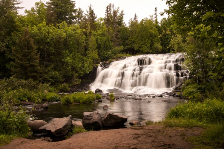 USA Forests Waterfalls Stones Bond Falls Ontonagon River Nature wallpaper