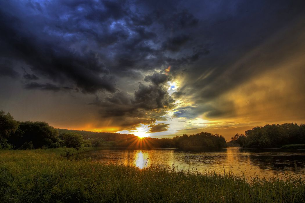 Canada Scenery Sunrises and sunsets Rivers Grass Clouds Sherbrooke Quebec Nature wallpaper