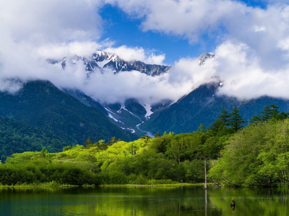 Scenery Mountains Lake Forests Clouds Nature wallpaper