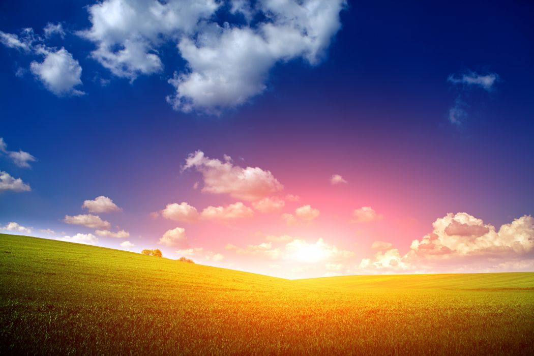 Scenery Sunrises and sunsets Fields Sky Clouds Nature wallpaper