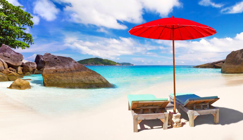 Thailand Scenery Tropics Stones Coast Umbrella Sunlounger Beach Phuket Nature wallpaper