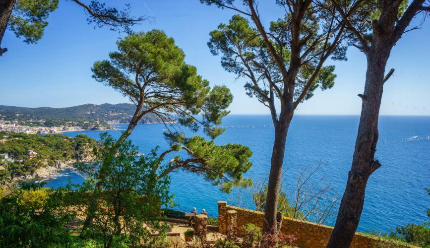 Spain Coast Sea Trees Costa Brava Nature wallpaper
