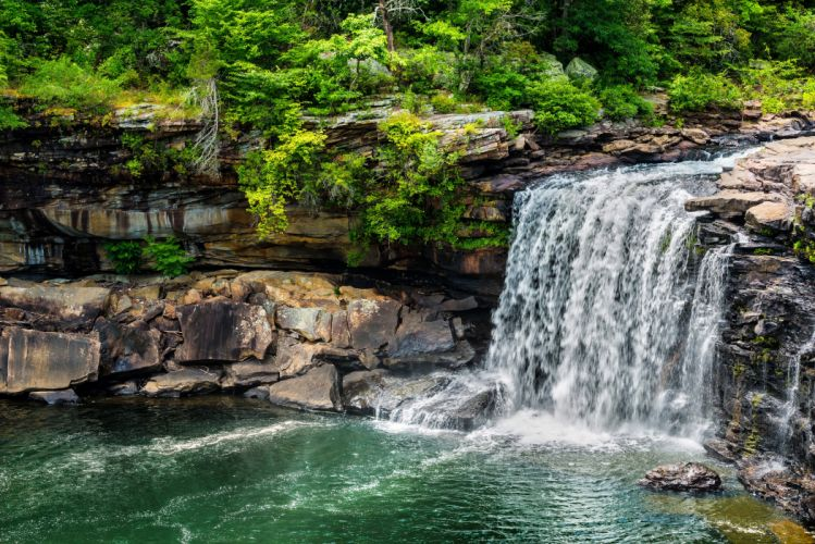Waterfalls Stones Nature wallpaper