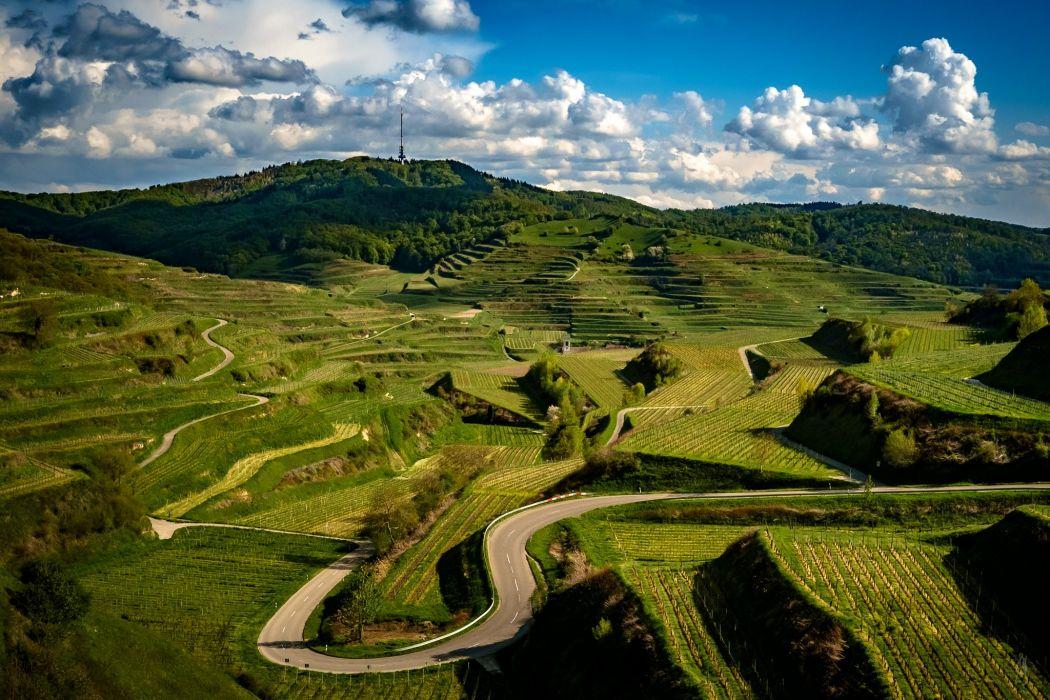Germany Scenery Roads Fields Clouds Kaiserstuhl Hills Nature wallpaper