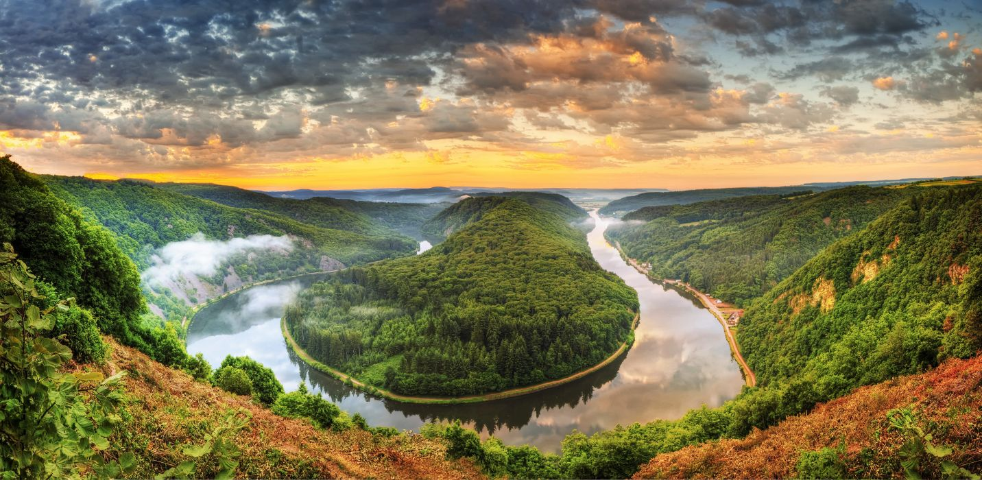 Germany Rivers Forests Scenery Clouds Mettlach Saar Nature wallpaper
