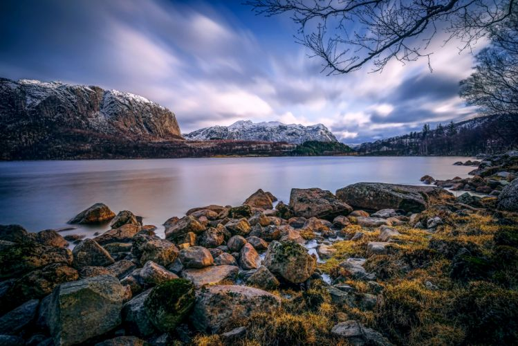 Scenery Norway Coast Mountains Lake Stones Nature wallpaper