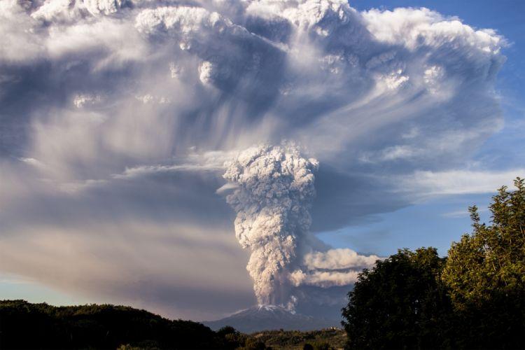 Chile Volcano Smoke Calbuco Nature wallpaper