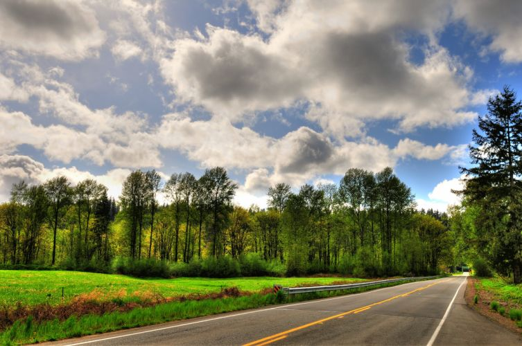 Roads Sky Clouds Trees Nature wallpaper