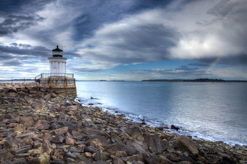 USA Scenery Coast Lighthouses Stones Sky Portland Oregon Nature wallpaper