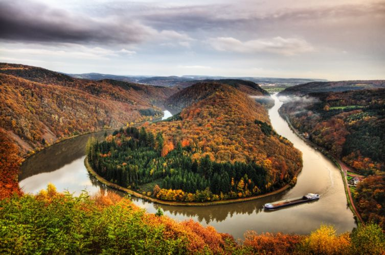 Germany Rivers Autumn Forests Scenery Mettlach Saar Nature wallpaper