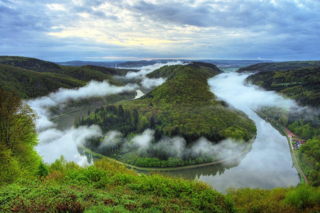 Germany Rivers Forests Scenery Mettlach Saar Nature h wallpaper