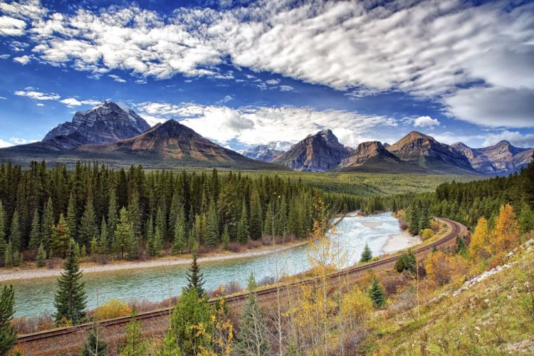 Mountains Canada Forests Rivers Scenery Sky Bow River Nature wallpaper