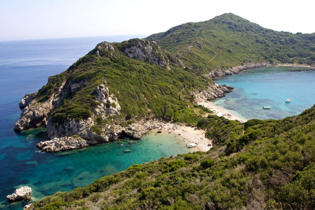 Greece Coast Mountains Corfu Nature wallpaper