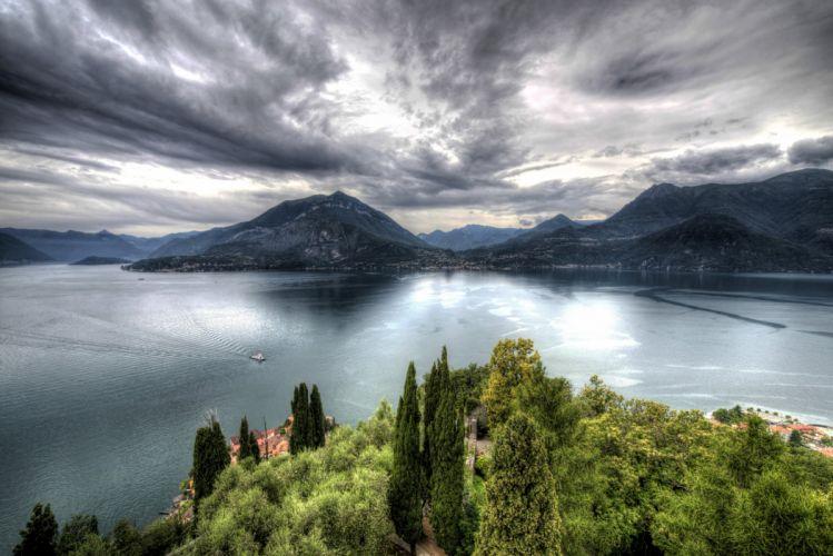 Italy Scenery Lake Mountains Sky HDR Castello di Vezio Nature wallpaper