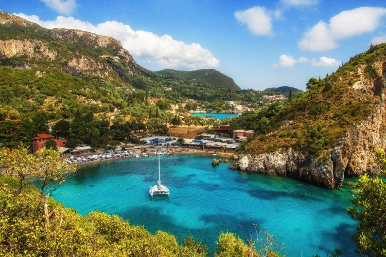 Greece Scenery Lake Mountains Corfu Paleokastritsa Nature wallpaper