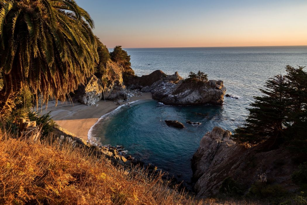 Ocean USA Coast Parks Cove McWay Falls Julia Pfeiffer Burns State Park Nature wallpaper