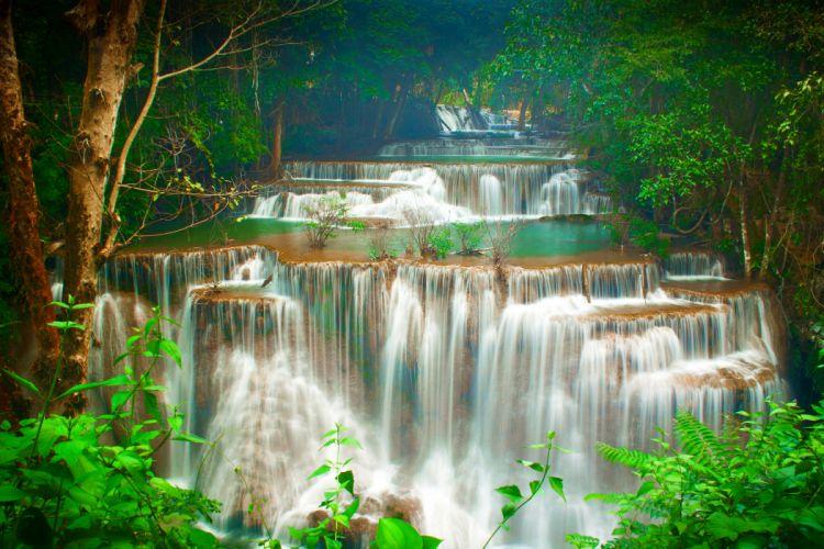 Thailand Tropics Waterfalls Trees Huay Maekamin Waterfall Kanchanaburi Nature wallpaper