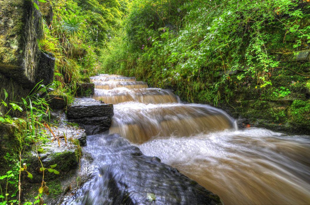 England Parks Waterfalls Shrubs HDR Yarrow valley park Nature wallpaper