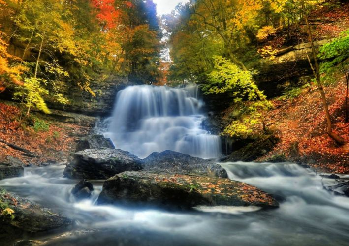 Autumn Forests Waterfalls Rivers Nature wallpaper