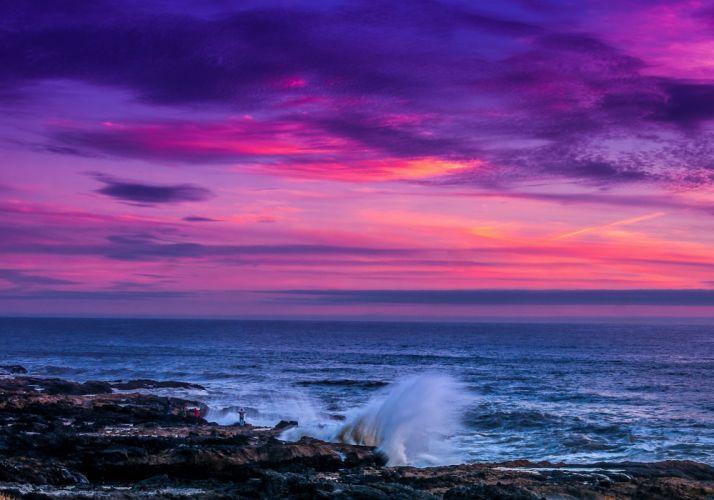 Sea Evening Sky Nature wallpaper