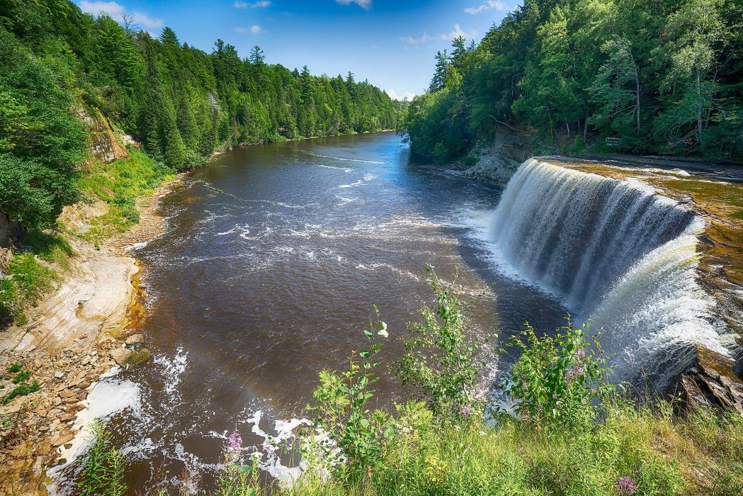 Rivers Waterfalls Forests Nature wallpaper