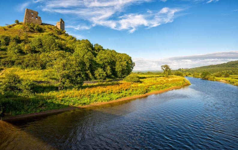 Sky Rivers United Kingdom Dryslwyn Castle Carmarthen Nature wallpaper