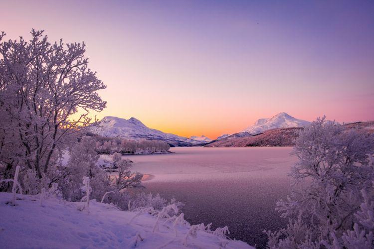 Norway Lake Winter Mountains Snow Nature wallpaper