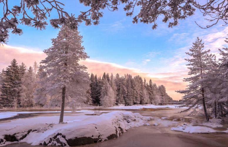 Sky Winter Rivers Trees Snow Nature wallpaper