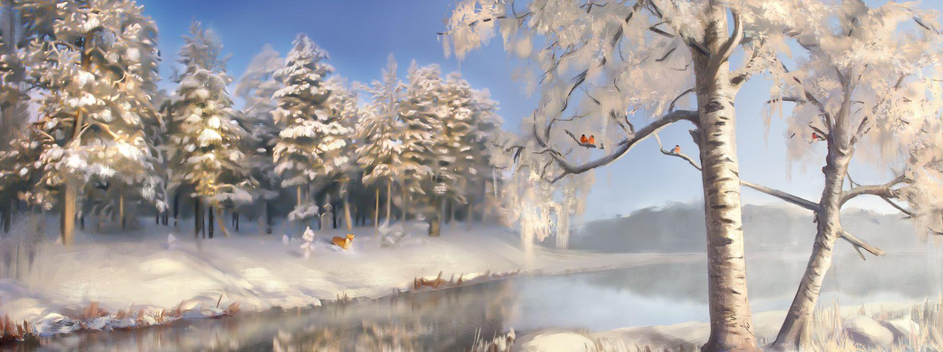 Winter Painting Art Trees Nature wallpaper