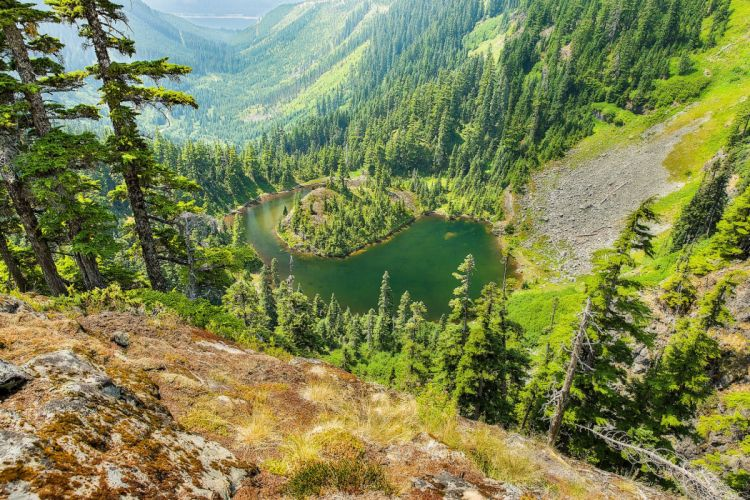 Mountains Lake Forests Scenery Trees Nature wallpaper