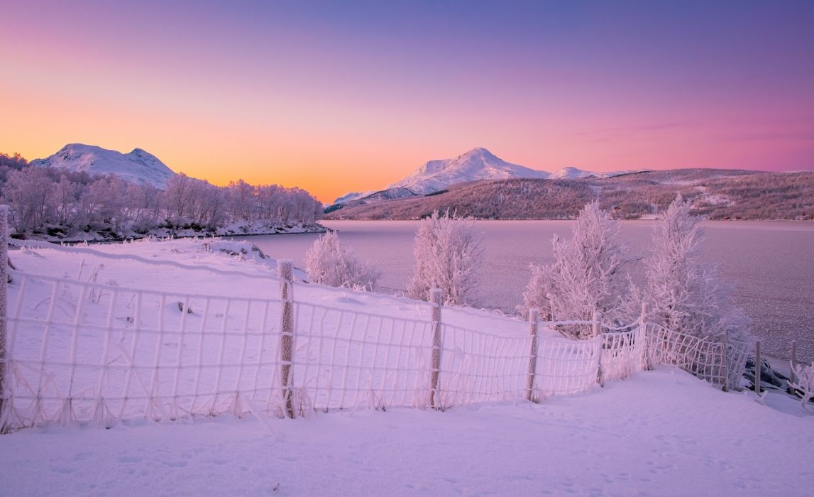 Mountains Winter Norway Lake Snow Fence Nature wallpaper