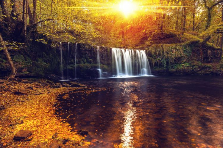 Waterfalls Autumn Forests Sunrises and sunsets Nature wallpaper