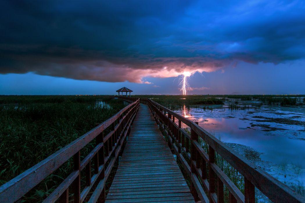 Bridges Evening Thundercloud Lightning Nature wallpaper