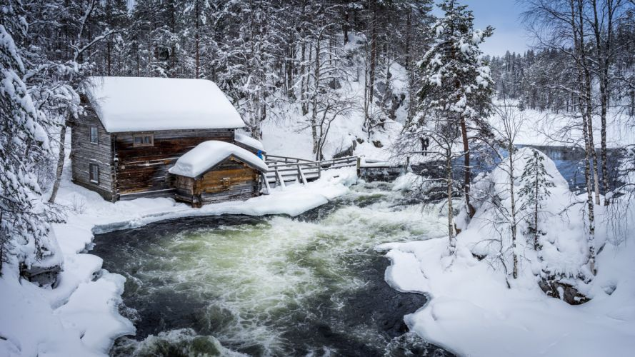Rivers Finland Houses Winter Snow Nature wallpaper