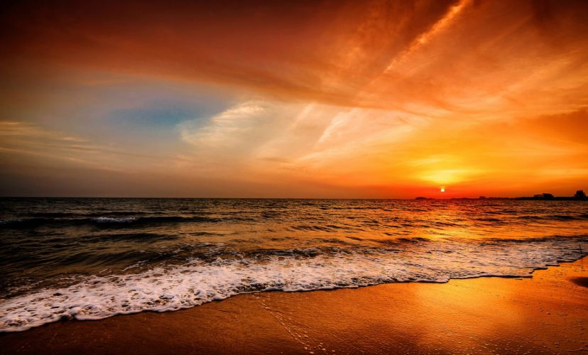Sunrises and sunsets Sea Horizon Nature wallpaper