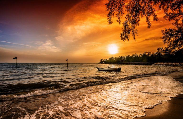 Sunrises and sunsets Sea Boats Nature wallpaper