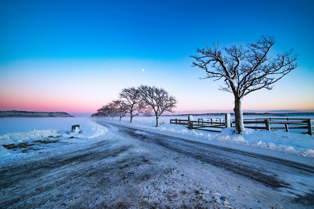 Sky Roads Evening Trees Nature wallpaper