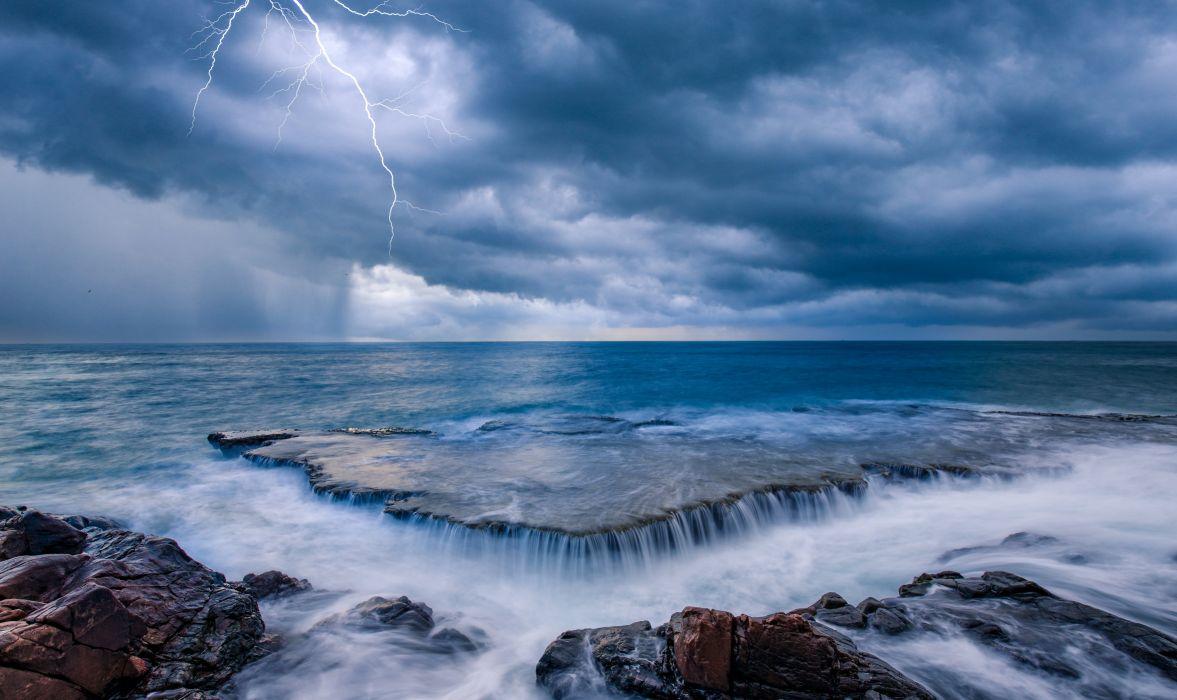 Sea Coast Waterfalls Horizon Lightning Nature wallpaper