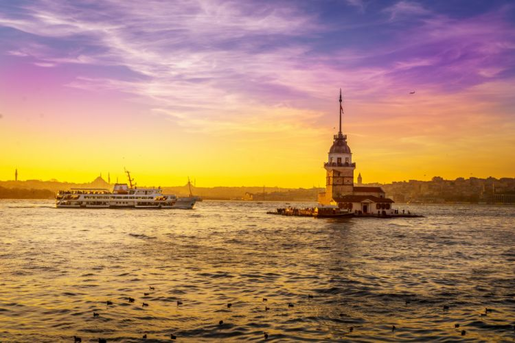 Turkey Sea Sunrises and sunsets Sky Maiden's Tower Istanbul Nature Cities wallpaper