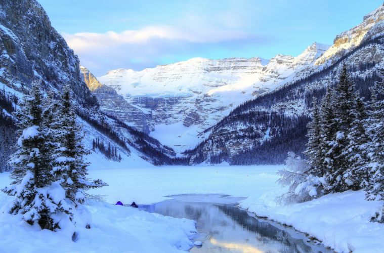 Winter Mountains Canada Lake Parks Scenery Snow Banff Louise Yoho Nature wallpaper