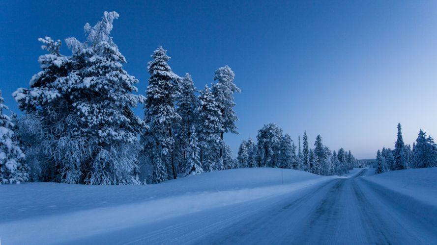 Finland Winter Roads Snow Trees Nature wallpaper