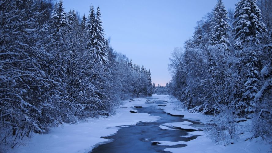 Finland Rivers Winter Forests Snow Trees Nature wallpaper