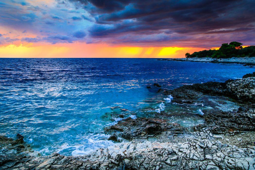 Croatia Sunrises and sunsets Coast Sea Scenery Nature wallpaper