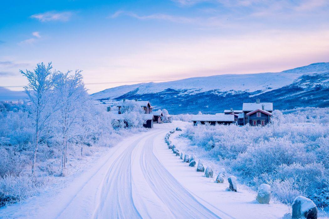 Norway Winter Roads Houses Sky Snow Nature wallpaper