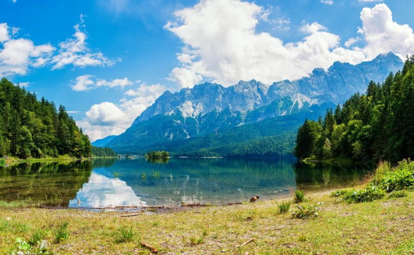 Scenery Lake Mountains Forests Clouds Nature wallpaper