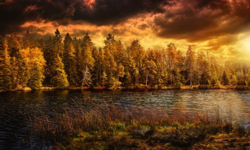 Switzerland Autumn Lake Forests Nature wallpaper