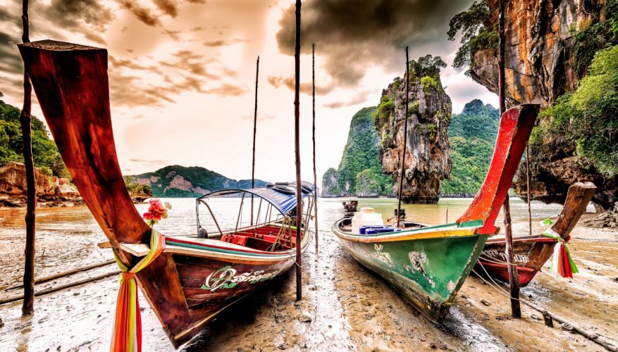 Boats Thailand Coast Crag Ko Tapu Phang Nga Province Nature wallpaper