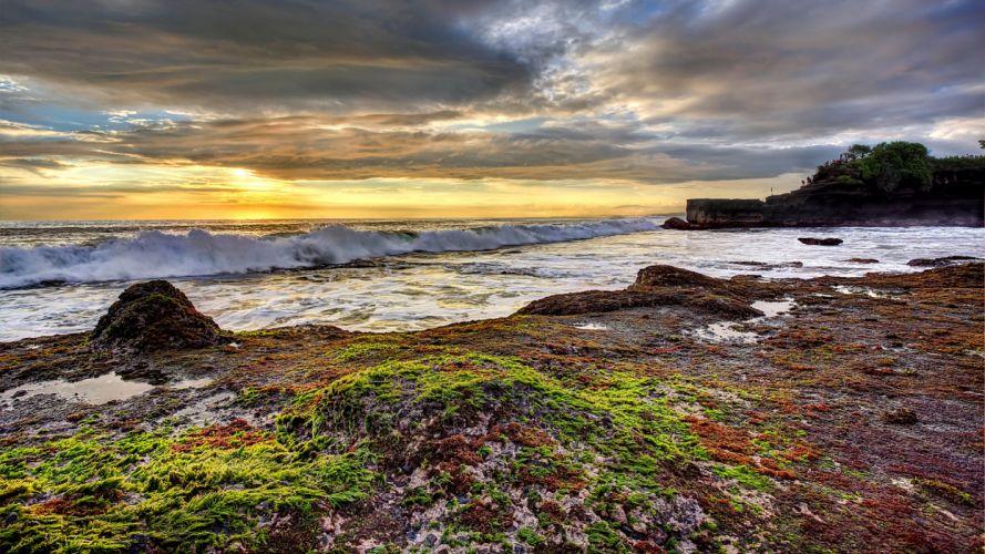 Scenery Coast Sunrises and sunsets Waves Sky Nature wallpaper